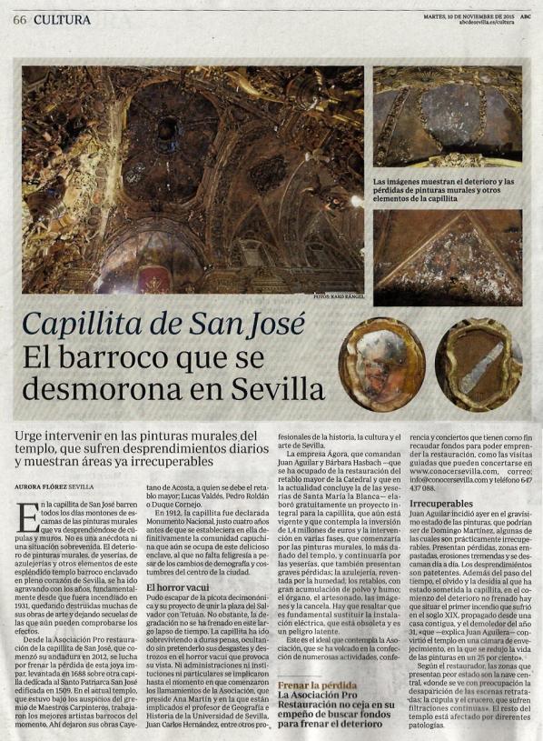 2015-11-10.- Canillita de San José, el barroco que se desmorona en Sevilla. ABC pág. 66
